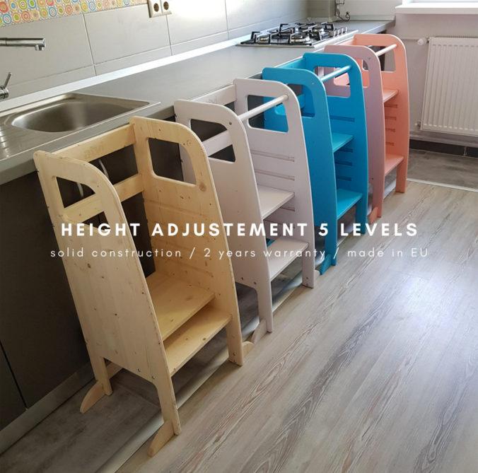 Höhenverstellbare Lerntürme für Kinder