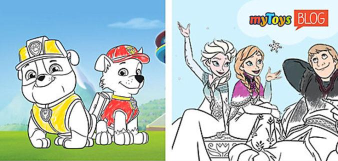 Ausmalbilder mit Paw Patrol und Frozen
