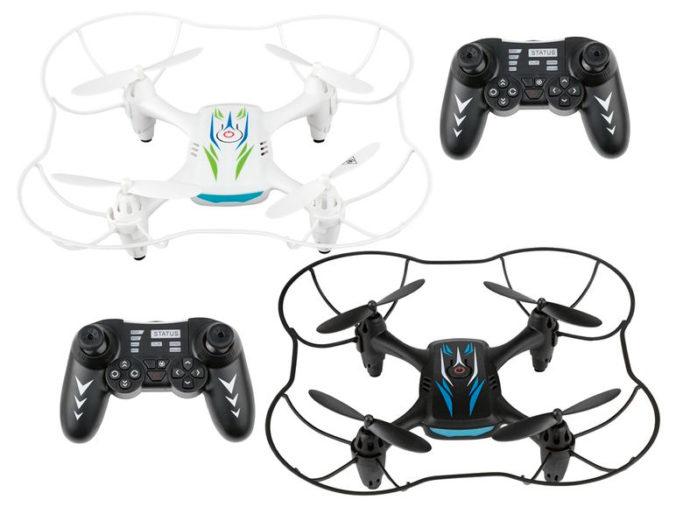 Weißer und schwarzer Quadrocopter