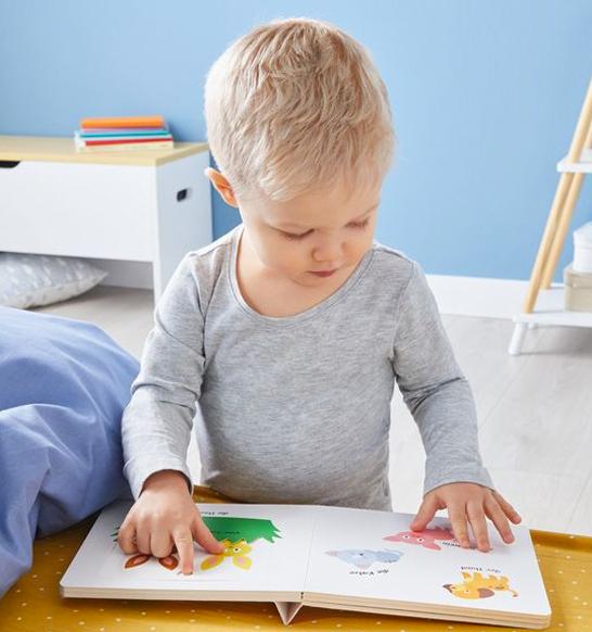 Junge spielt mit Schiebebuch