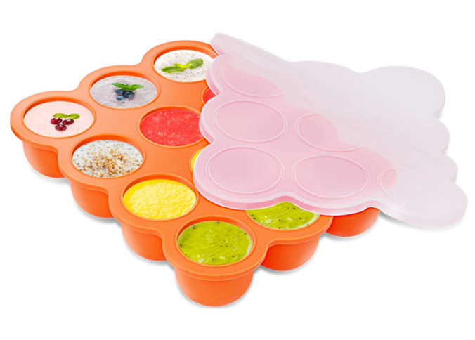 Silikonbehälter mit einzelnen Fächern zum Einfrieren von Lebensmitteln
