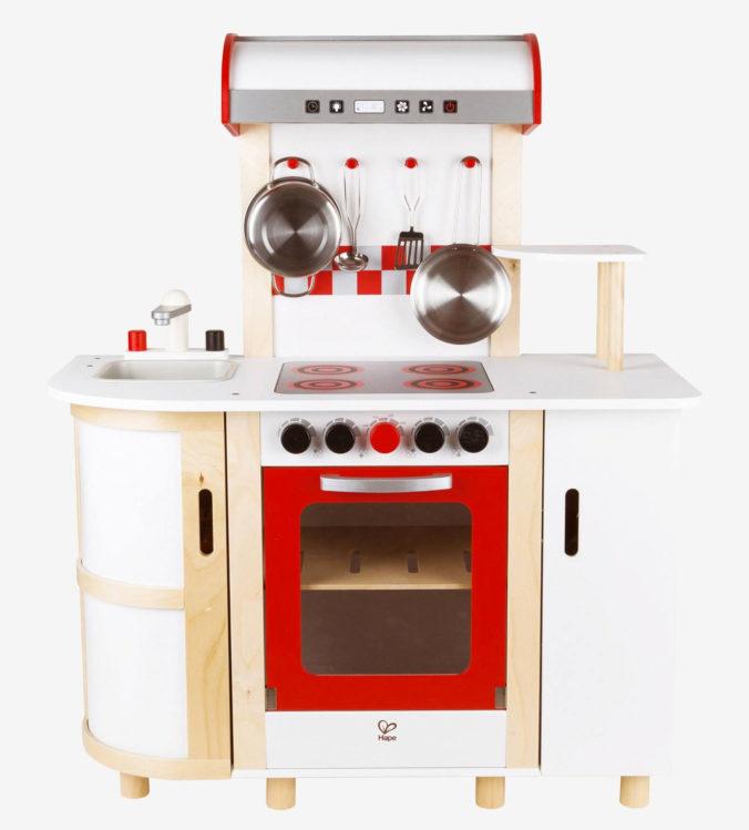 Weiß/rote Spielküche aus Holz für Kinder