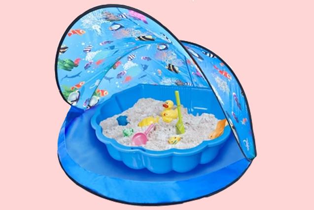 Blaues Spielzelt inkl. Sandkasten für Kinder