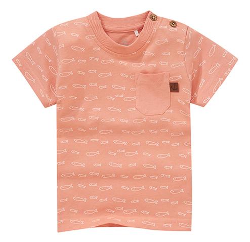Lachsfarbenes T-Shirt mit Fischmuster für Kinder