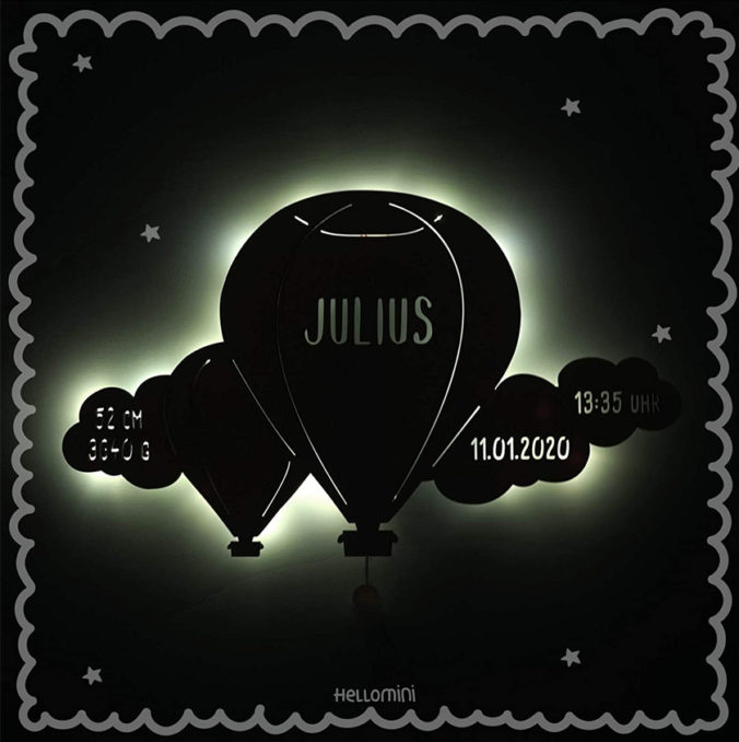 Personalisierbares Ballon-Nachtlicht für Kinder