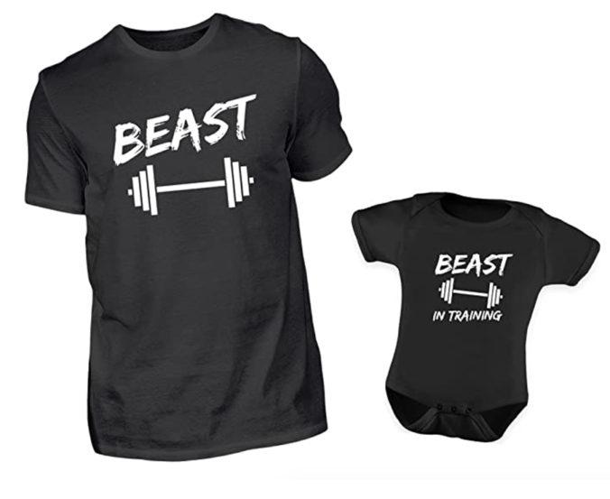 T-Shirts für Papa und Kind mit Aufschrift Beats bzw. Beast in Training