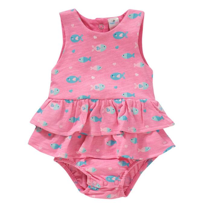 Pinkes Bodykleid mit Fischmotiv für Mädchen