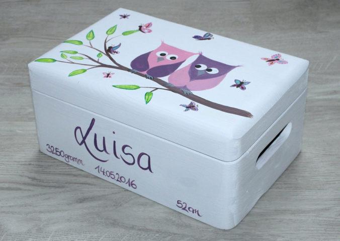 Personalisierte Erinnerungsbox mit Eulenmotiv, Name und Geburtsdaten