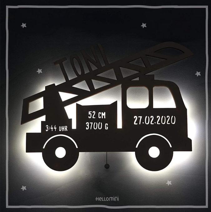 Personalisierbares Feuerwehrwagen-Nachtlicht für Kinder