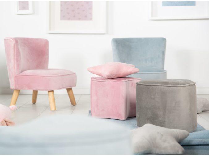 Kinderhocker in rosa und grau