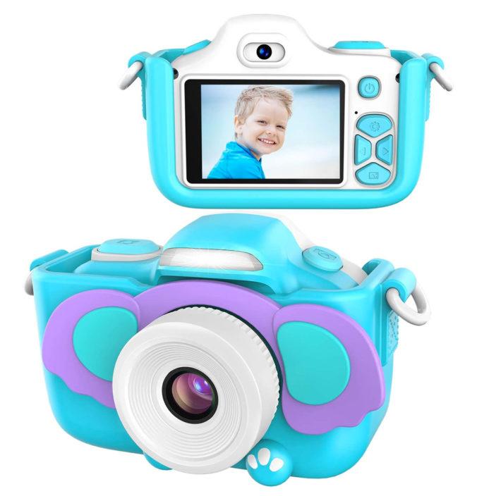 Blaue Digitalkamera für Kinder