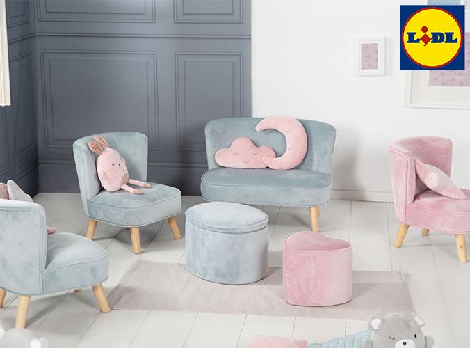 Kindersessel und Kindersofas in rosa und hellblau