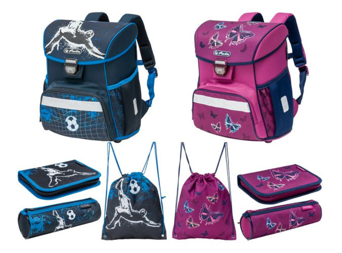 Schulranzen, Etui, Sportbeutel und Faulenzer in pink und blau