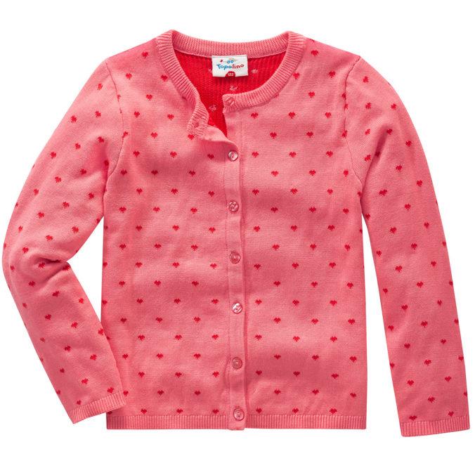 rosa Strickjacke mit Herzchen für Mädchen