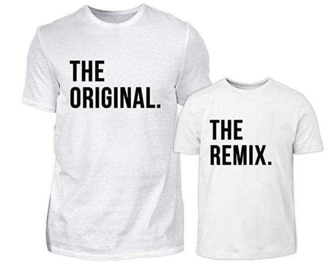 T-Shirts für Papa und Kind mit Original und Remix Aufschrift
