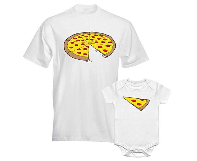 T-Shirt für Papa und Kind mit Pizzastücken