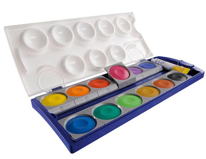 Deckfarbkasten mit 12 Farben von Pelikan