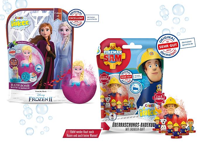 Badekugeln mit Frozen und Feuerwehrmann Sam Figur
