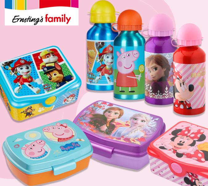Ernsting's Brotdosen und Flaschen von Peppa, Paw Patrol, Frozen und Minnie Mouse