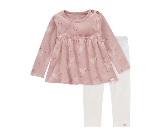 Rosa Kleid mit weißer Leggings für Babys