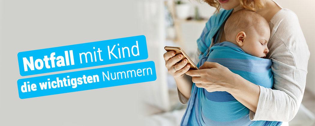 Banner: Notfall mit Kind: Die wichtigsten Notrufnummern