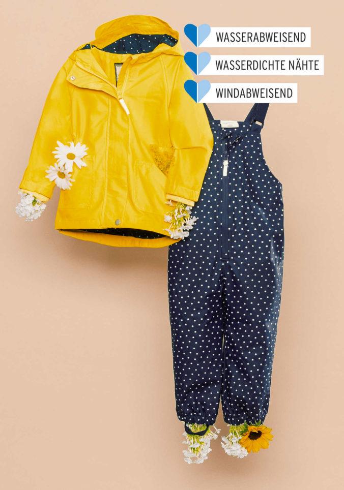 Blaue und gelbe Regenkleidung für Mädchen
