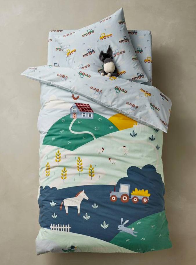 Bettwäsche mit Bauernhof-Motiv für Kinder