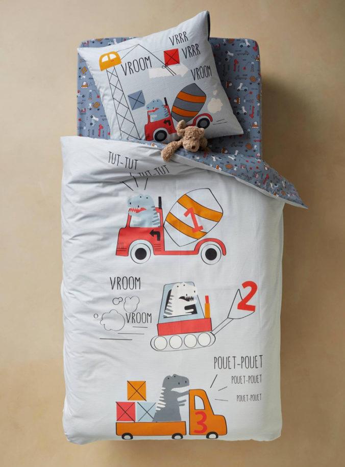 Bettwäsche mit Trucks und Dinos für Kinder