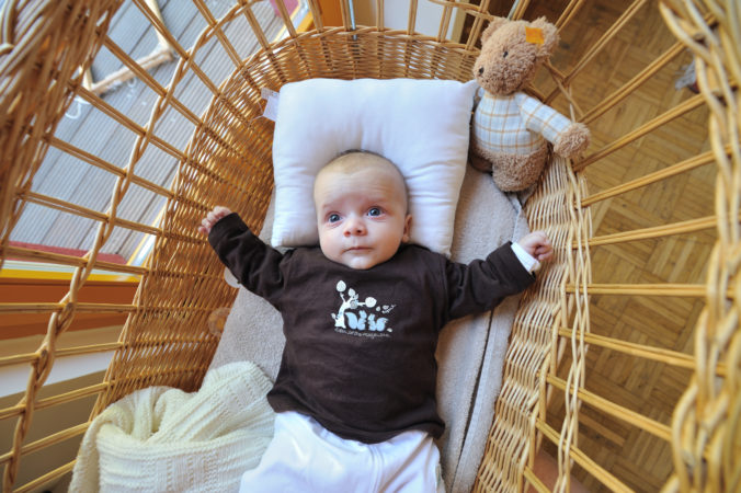 Baby in Stubenwagen