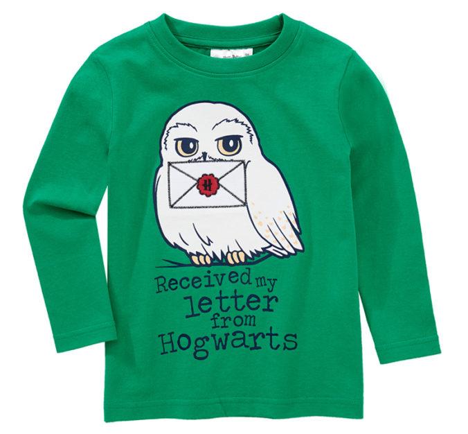 Grünes Langarmshirt mit Harry Potter Print