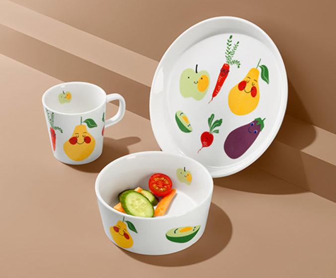 Geschirrste mit Obst- und Gemüseprint für Kinder