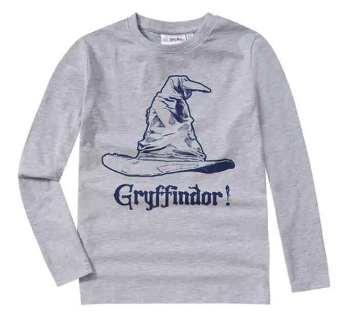 graues Langarmshirt mit Gryffindor Print