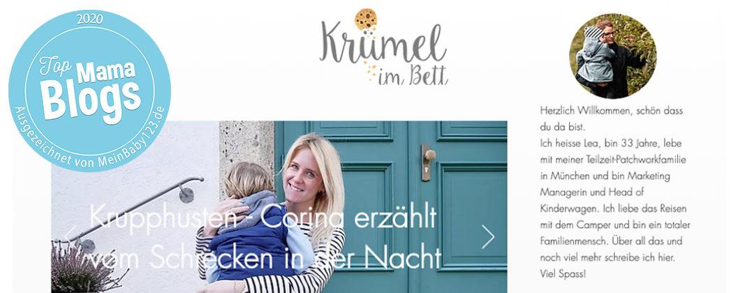 Banner: Krümel im Bett – Top Mama Blog 2020