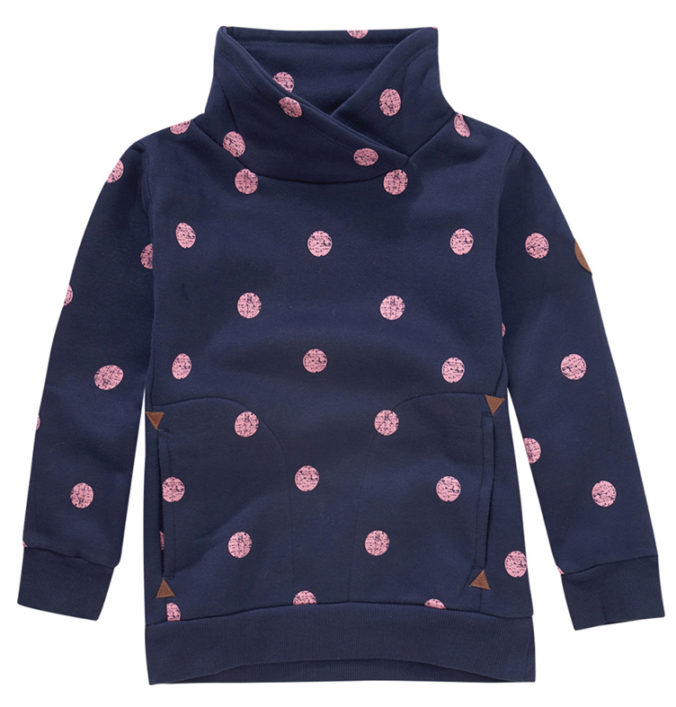 Blauer Pullover mit rosa Punkten für Mädchen