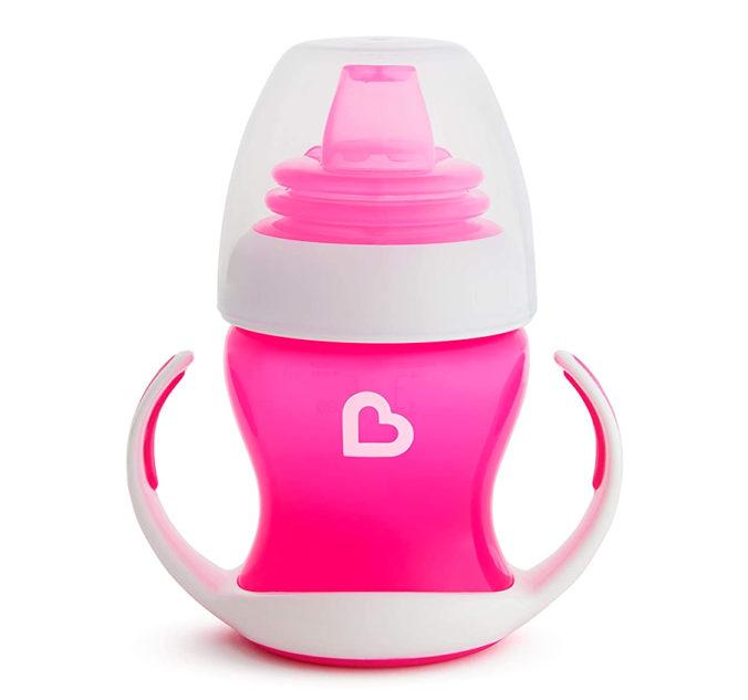 Pinker Trinklernbecher mit trinkschnabel