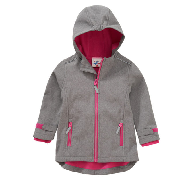 grau/pinke Softshelljacke für Kinder