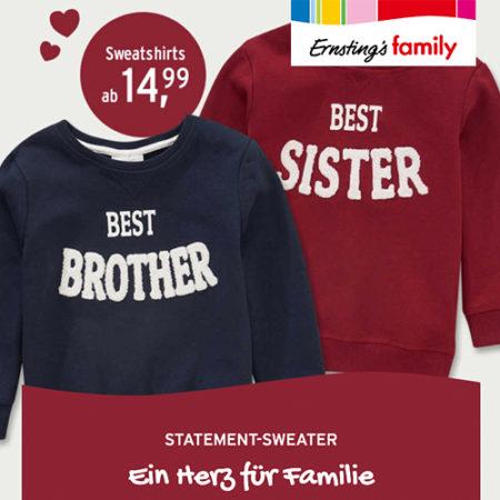 """Pullover mit Aufschrift """"Best Brother"""" und """"Best Sister"""""""