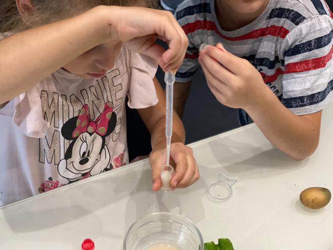 Kinder spielen mit Pipetten, Behältern und Wasser