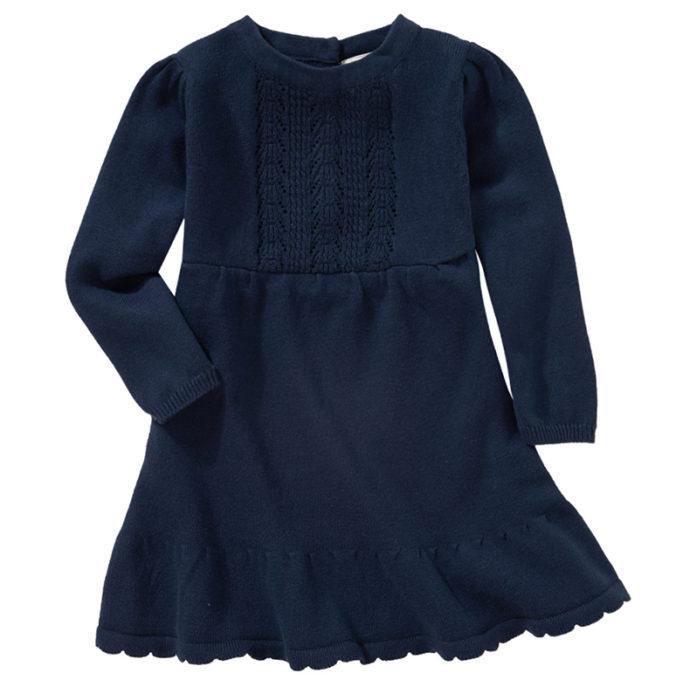 dunkelblaues Strickkleid für Babys
