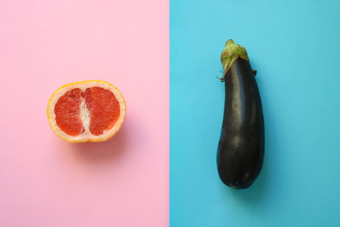 Orange und Aubergine