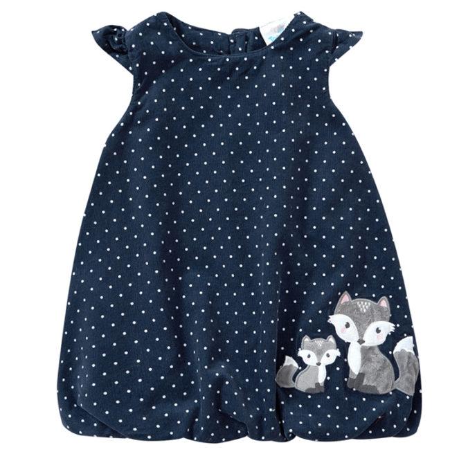 Blaues Ballonkleid mit Waschbär-Print für Mädchen
