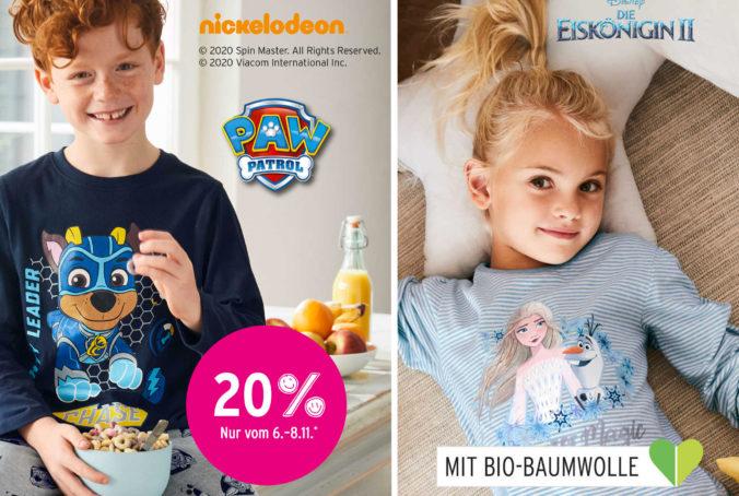 Junge und Mädchen in Paw Patrol und Frozen Pyjamas
