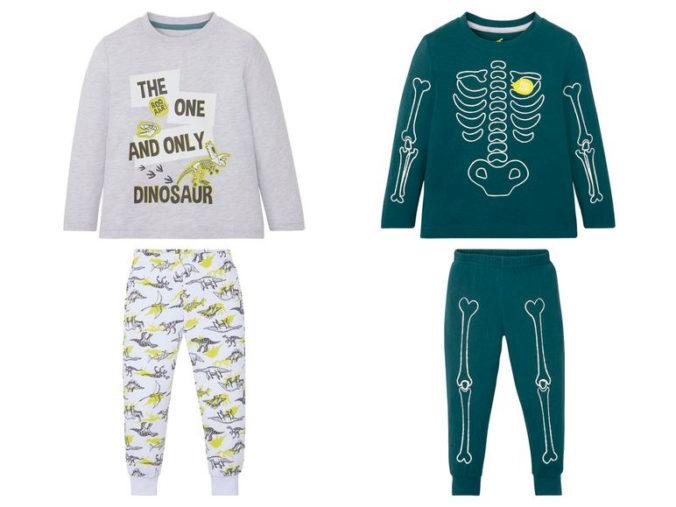 Pyjamas mit Dinosaurier und Skelettmotiv für Jungen