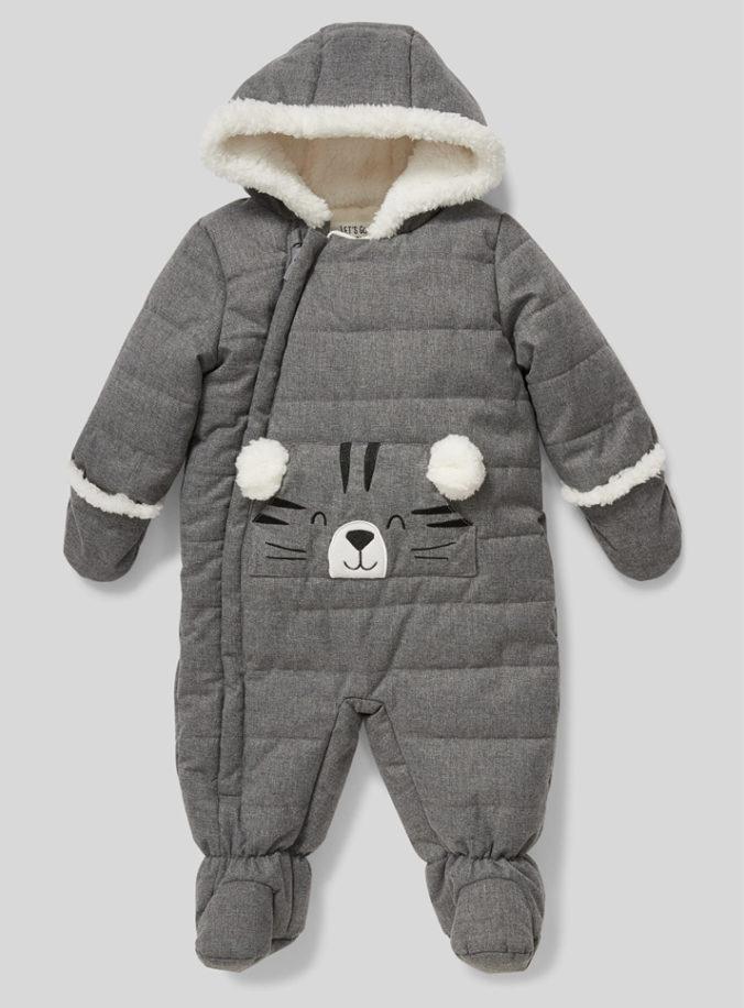 grauer Schneeanzug mit Tigerdesign für Babys