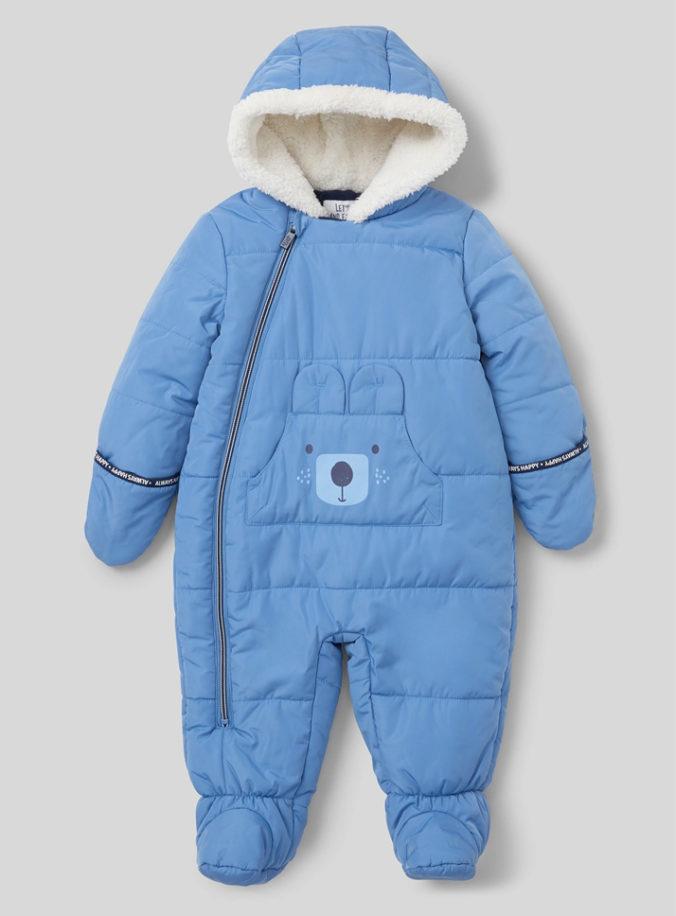 Blauer Schneeanzug mit Teddymotiv für Babys