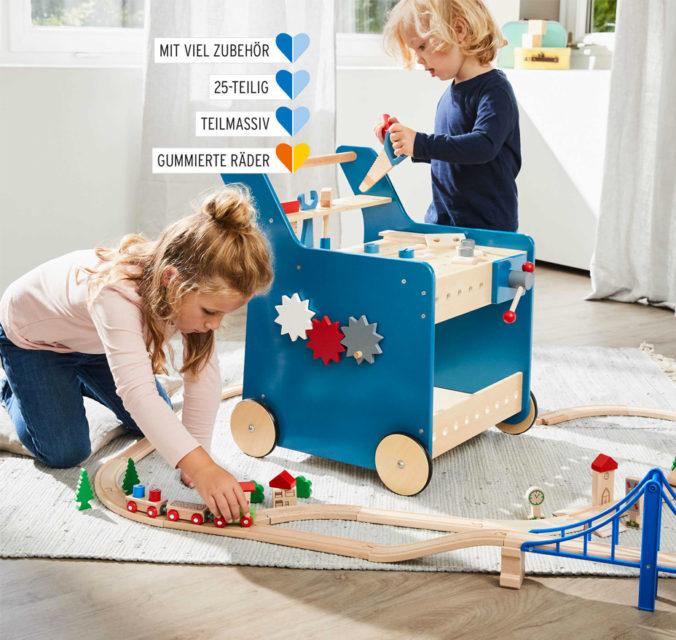 Werkbank und Holzeisenbahn für Kinder