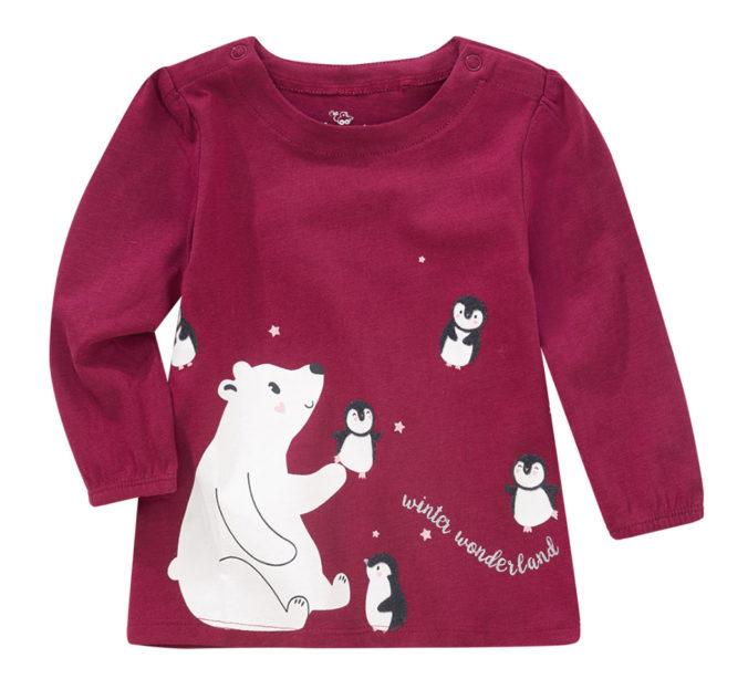 rotes Langarmshirt mit Eisbär-Motiv für Kinder
