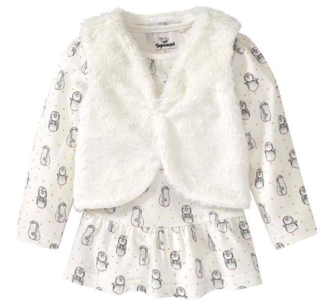 Langarmshirt mit Plüschweste für Babys
