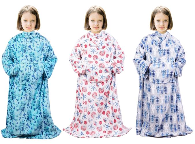Decke mit Ärmeln blau, rosa und lila