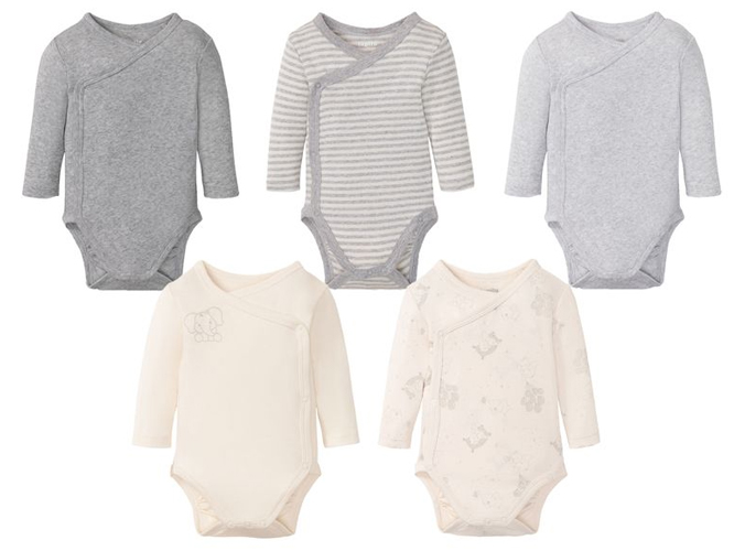 5er Set Baby Bodies grau und weiß